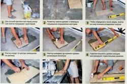 Процесс укладки плитки на пол.