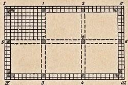 Схема установки маячных плиток при настилке полов