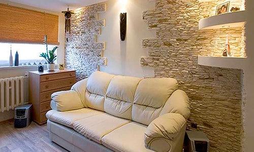 Декоративная плитка под камень в интерьере