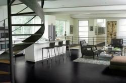 Дизайн кухни с использованием кожаной мебели