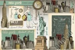 """Декупажные карты """"Нью Йорк"""""""