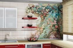 Пример рисунка на кафельной плитки в кухне