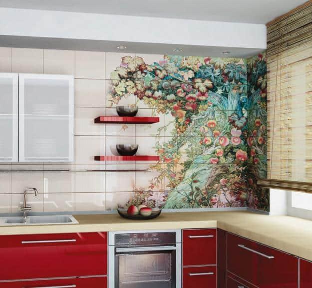 оформление интерьера кухни обоями