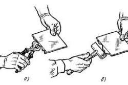 Устранение местных искривлений на кромках плиток с помощью кусачек (а) или захватного приспособления - плитколома (б)