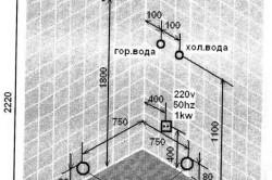 Схема места под душевую кабину