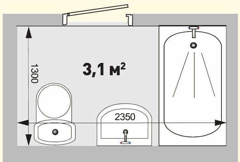 Схема обмера ванной