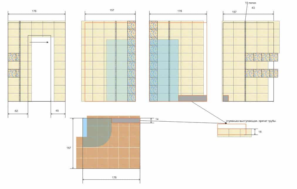 Схема раскладки плитки в ванной