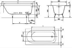 Схема размеров ванны