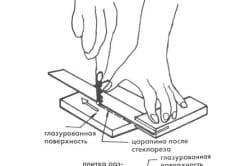 Схема резки плитки стеклорезом