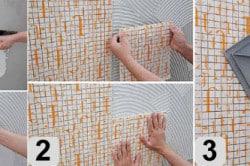 Укладка мозаичной плитки: 1- нанесение раствора на поверхность; 2 - укладка плитки на поверхность с раствором; 3 - придавливание плитки резиновым шпателем к основанию.