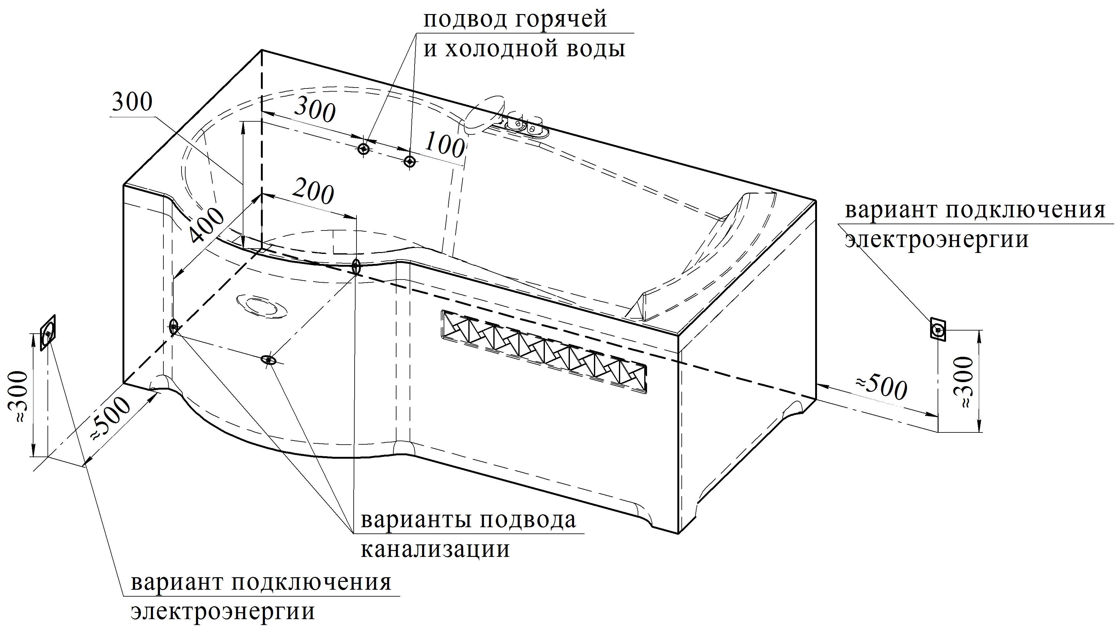 Схема установки ванны на кафель