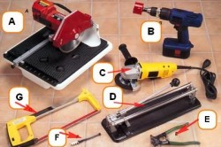 Инструменты для резки плитки: А - электрический плиткорезный станок; В - коронка карбидная; С - болгарка; D - ручной плиткорез; Е - кусачки для плитки; F - стеклорез; G - ножовка по металлу.