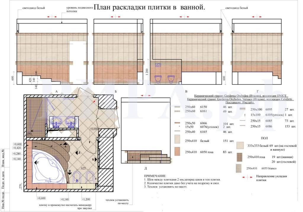 План и расчет раскладки плитки в ванной