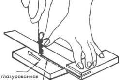 Схема резки плитки стелорезом.