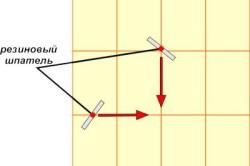 Схема движение шпателя при затирке швов в плитке.