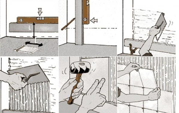 Этапы укладки кафельной плитки на стену