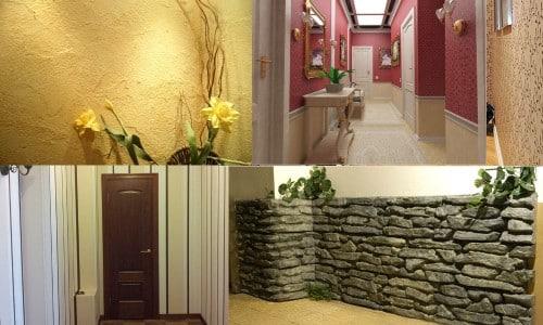 Варианты отделки коридора: обоями, штукатуркой, пластиковыми панелями, камнем