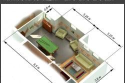 Пример расчет площади и периметра комнаты
