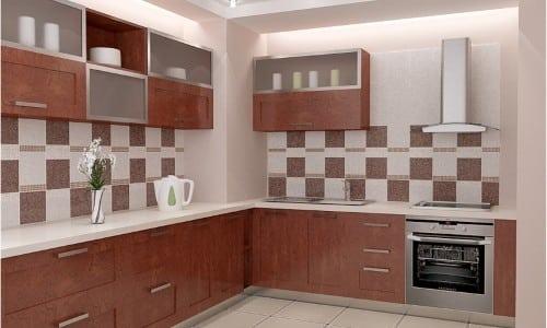 Кухня с кафельным фартуком